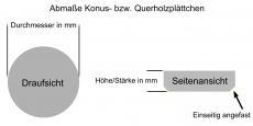 Konusplättchen bzw. Querholzplättchen aus Buche natur / Durchmesser von 10 bis 40 mm wählbar