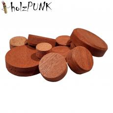 Konusplättchen bzw. Querholzplättchen aus Mahagoni / Durchmesser von 10 bis 40 mm wählbar