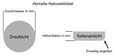 Naturastdübel aus Kiefer / Durchmesser von 10 bis 30 mm wählbar