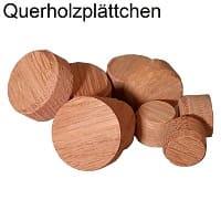 Querholzplättchen in Kiefer, Fichte, Eiche, Buche und Mahagoni